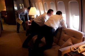 Gibbs: Look, a plane, a plane. Obaama: No a plan, dummy!